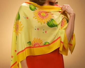 Yellow Sunflower silk scarf original design