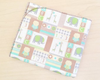 Flannel Receiving Blanket XL - Swaddle Blanket - Baby Blanket - Baby boy blanket - Brown ABC 123