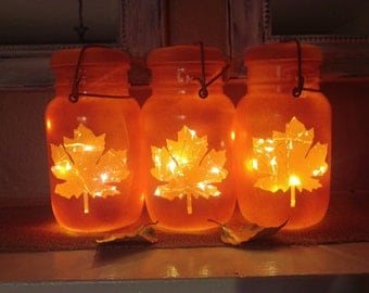 Upcycled Vintage Mason Jar Indoor/Outdoor Maple Leaf Jar with Battery Operated LED Fairy String Lights for Thanksgiving Decor or Centerpiece