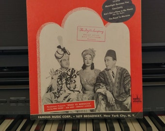 Vintage Sheet Music Titled Moonlight Becomes You from the Movie Road to Morocco | Starring Bing Crosby, Bob Hope and Dorothy Lamour