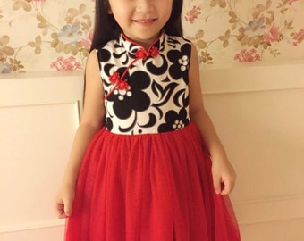 girl cheongsam style tutu dress  handmade red/black