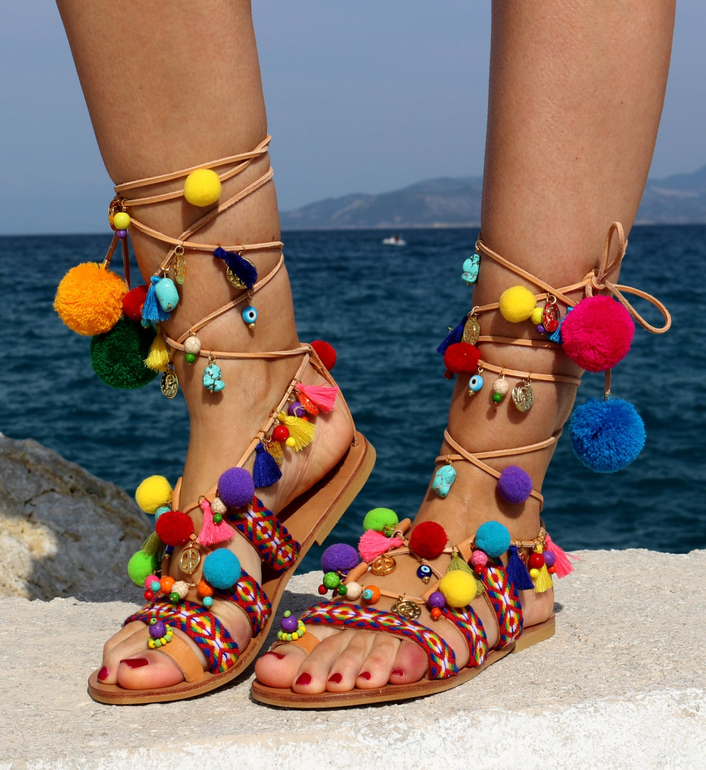 Image result for pom pom sandals