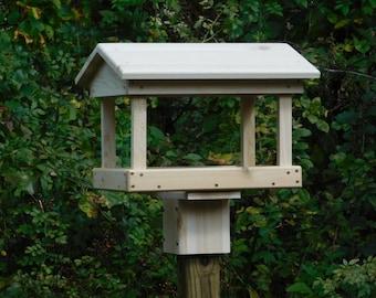 Cedar Fly Through Bird Feeder ,Post Mount  or Pole Mount Bird Feeder,Large Bird Feeder