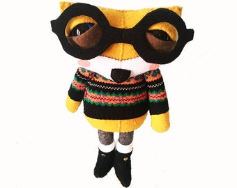 Flynn the Fox in a sweater - Limited Edition handmade plush creature plushie toy - unique birthday gift