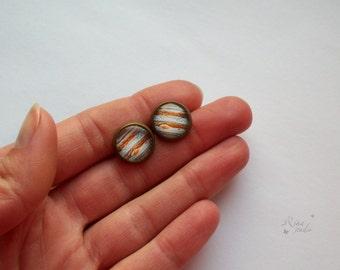 Jupiter Stud Earrings, Space Jewelry, Planet Earrings, Solar System Jewellery, Jupiter Post Earrings, Cosmic Earrings, Planetarium Jewelry