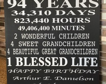94 Years Old .. A beautiful personalized wood sign .. Perefct for any age..
