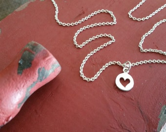 Valentine Heart Necklace, Sterling Silver, Cut-out Heart Necklace, Tiny Heart Charm