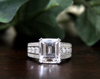 3.90 ct Engagement Ring-Emerald Cut Diamond Simulant Ring-Wedding Ring-Bridal Ring-Promise Ring-Anniversary Ring-Sterling Silver [9151ES]