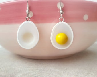 Solid Silver EGG earrings, egg jewelry, avocado jewelry, miniature food jewelry, kawaii jewelry, food earrings, clay charms, easter gift