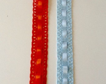 "1"" Crochet Lace with Ribbon by Beach Glass Crochet/Ribbon Trim"