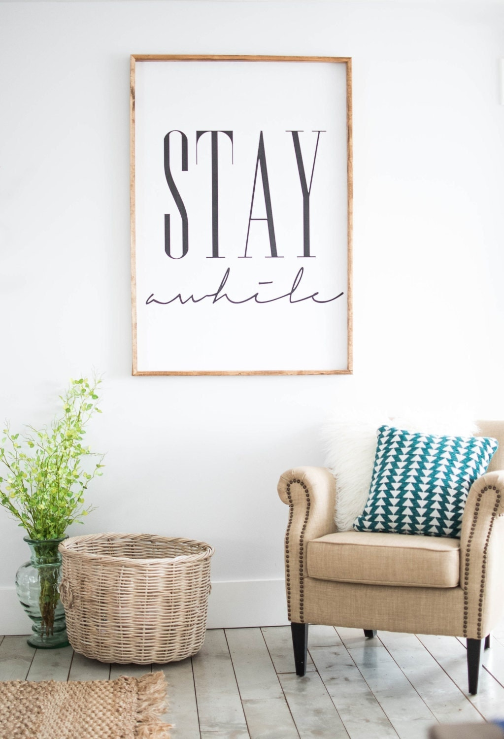 Stay awhile framed print home decor wall art by for Home decor wall hanging