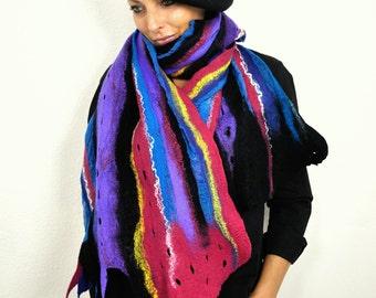 Multicolor Scarf  / Nuno felting scarf / Felted  scarf  / Handmade felted scarf / Merino wool / wool Scarf / !!! FREE SHIPPING !!!