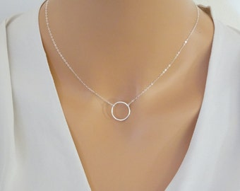 Open sterling silver circle necklace,  Karma Necklace, Eternity Necklace, Bridesmaids necklace, 14 K Gold fill