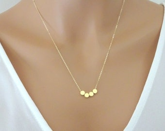 Custom initial necklace, Gold dot necklace, tiny stamped dots necklace, Personalized jewelry, Monogram necklace, Bridesmaid necklace gift