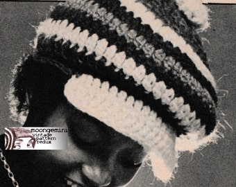 Crochet Newsboy Hat Visor Cap Beanie Hat Tam Pattern Adjustable Headsize Instant Download