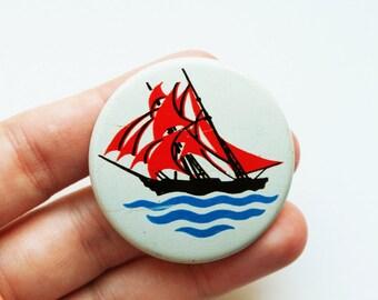 Vintage (4 cm) 1.57'' boat ship sailboat boat steamboat brooch badge token clasp pinion pin button cordon band medallion pi