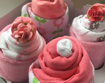 Baby Cupcakes, Baby Gift Set, Baby Shower Gift, Baby Girl Set