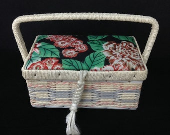 Small Sewing Basket Vintage Sewing Basket Sewing Box Bohochic Sewing Box Stash Box Trinket Box