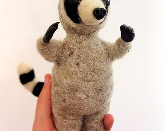 Merino fiber raccoon - Needle felted cat - handmade