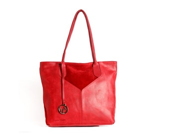red leather tote bag - red tote bag - leather tote handbag - red leather bag - red leather purse - red leather handbag - ALICE MS7053 - Red