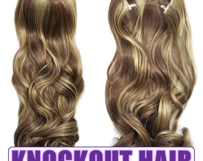 "Fits like a Halo Hair Extensions 20"" - 150 Grams 100% Premium Fiber Wavy Hair (Medium Cool Blonde/Medium Cool Brown Mix - P#16/18)"