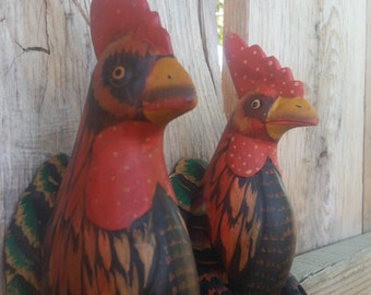 CHICKEN/ Wood Puppet/ Wood Art/ Handmade/ Hand Carved/ WOOD Handicraft/ Unique Gift/ Animal Art/ Vintage/ Feathers