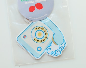Blue telephone - temporary tattoo