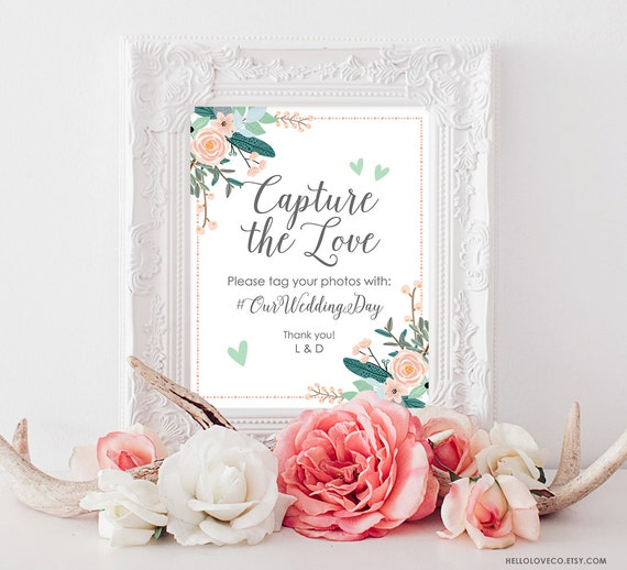 Printable wedding hashtag sign wedding photos sign floral for Bathroom design hashtags