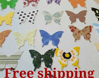 50 Butterfly cutouts. Die cuts. Embellishments. Different colors and paper thickness. Free shipping.