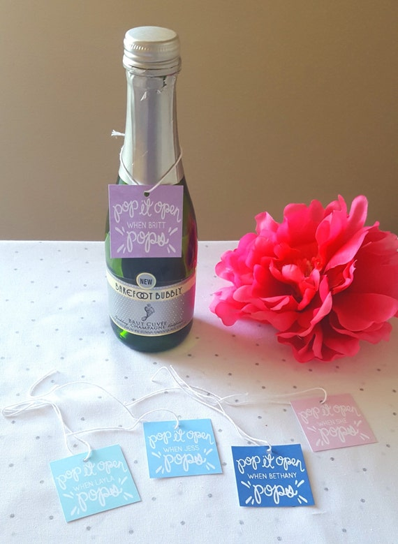 Pop It Open When She Pops Baby Shower Favor Tag With By