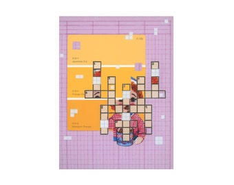 Mixed Media Collage Print, Art Print, Home Decor, Room Wall Decor, Crossword Puzzle Paint Chip Art