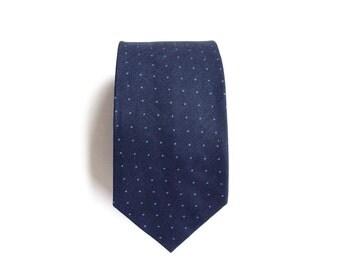 Sloane Linen Navy Men's Tie, Skinny Tie