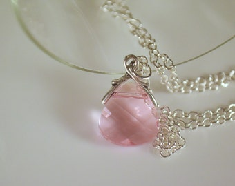 Light Rose Pink Swarovski Crystal Briolette Pendant Necklace, Pink Crystal, Gifts for Her,