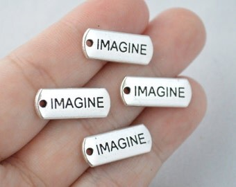 5 Pcs Imagine Charms Antique Silver Tone 20x8mm - YD0900