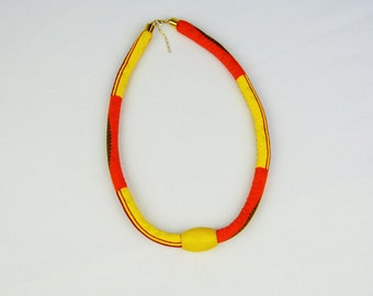Yellow tribal necklace - kente fabric