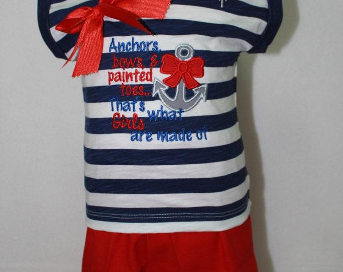 Girls Nautical Outfit, Baby Girls Nautical Shirt, Girls Anchor applique shirt, Red Ruffle Shorts, Nautical Headband, 4th of July outfit