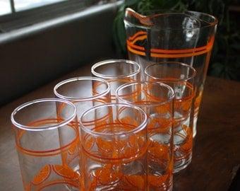Vintage Orange Juice Pitcher and Glass Set