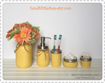 Mason Jar Bathroom Set of 5 Yellow-RustProof Soap Pump & Lid-Wedding Gift-Farmhouse Decor-Shabby Chic Decor-Country Decor-Housewarming gifts