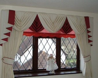 "Swags and Tails sets to fit 61"" to 105""  wide (155 - 267cm), includes Lined Curtains with lengths up to 89"" (226cm)"