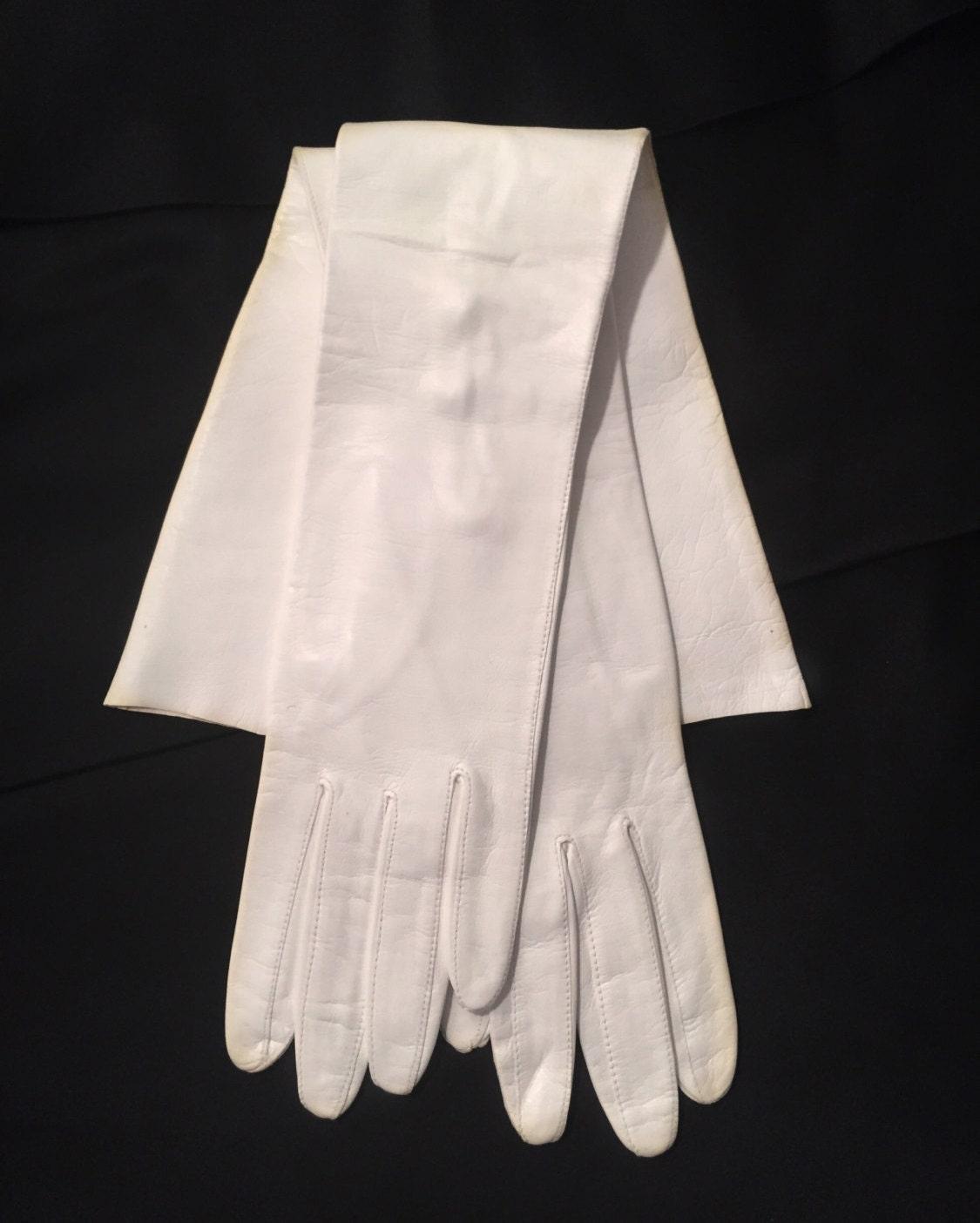 Vintage Long White Leather Gloves