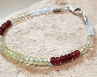 Multicolored bracelet, gemstone bracelet, Hill Tribe silver bracelet, garnet bracelet, yellow bracelet, sundance style bracelet gift for her