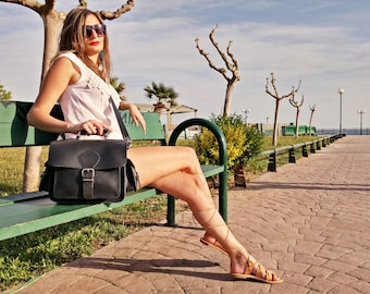 Full Grain Leather Camera Bag, Leather Camera Handbag. 100% Cowhide Bag, Handmade in Greece.