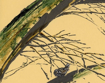 Starling on a tree trunk - 20 cm x 30 cm