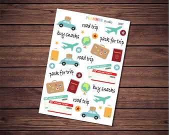 Travel Vacation Road Trip Functional Icon Planner Stickers