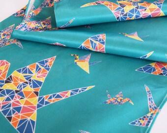 SALE - Silk Cotton Summer Scarf - Origami Cranes - LAST ONE