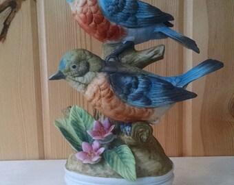 Vintage Eastern Bluebirds Figurine - Bisque Porcelain