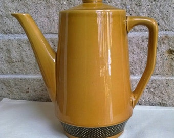 Harmony House Ironstone Coffee Pot- Aurora -Deep Mustard and Brown- Vintage- Made for Sears - Free Sugar Bowl lncluded!