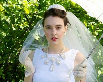 Bridal Statement Necklace; Handmade, 6 Piece, Freshwater Pearls, Shells and Rhinestones