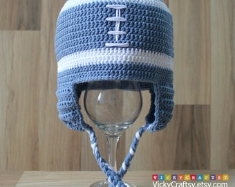 Crochet Football Hat, Handmade Baby Ear flaps hat, Photo prop