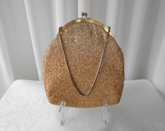 "Vintage ""Prestige Bags"" Gold Lame Evening Purse 1960's"